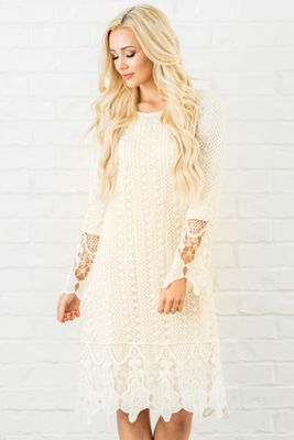 Lydia Modest Boho Dress in Cream w/Lace Overlay