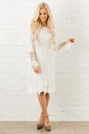 Lydia Modest Boho Dress in Cream w/Lace Overlay *RESTOCKED*