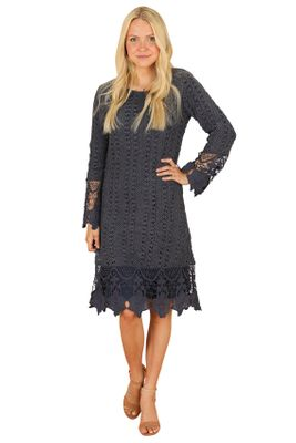Lydia Modest Boho Dress in Dark Dusty Blue w/Lace Overlay