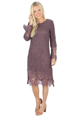Lydia Modest Boho Dress in Dusty Lilac Plum w/Lace Overlay