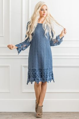 Lydia Modest Boho Dress in Steel Blue w/Lace Overlay