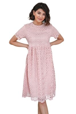 Mabel Modest Lace Dress in Carnation Pink / Light Pink, Modest Bridesmaid Dresses