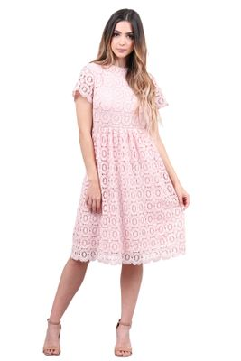 Mabel Modest Lace Dress in Carnation Pink / Light Pink