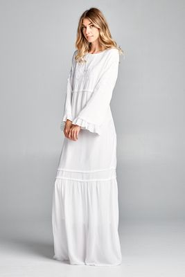 """May"" Ruffled Bell Sleeve LDS Temple Dress w/Pockets in White"