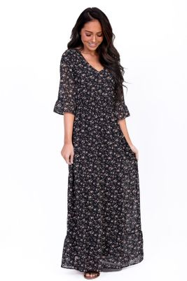 McKenzie Chiffon Modest Maxi Dress in Black w/Small Floral Print