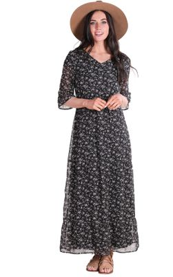 McKenzie Modest Maxi Dress in Black w/Floral Print | Modest Fall Dress | Modest Sundress