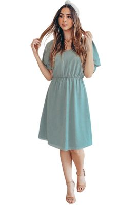 Claire Modest Bridesmaid Dress in Textured Dark Sage Green Chiffon
