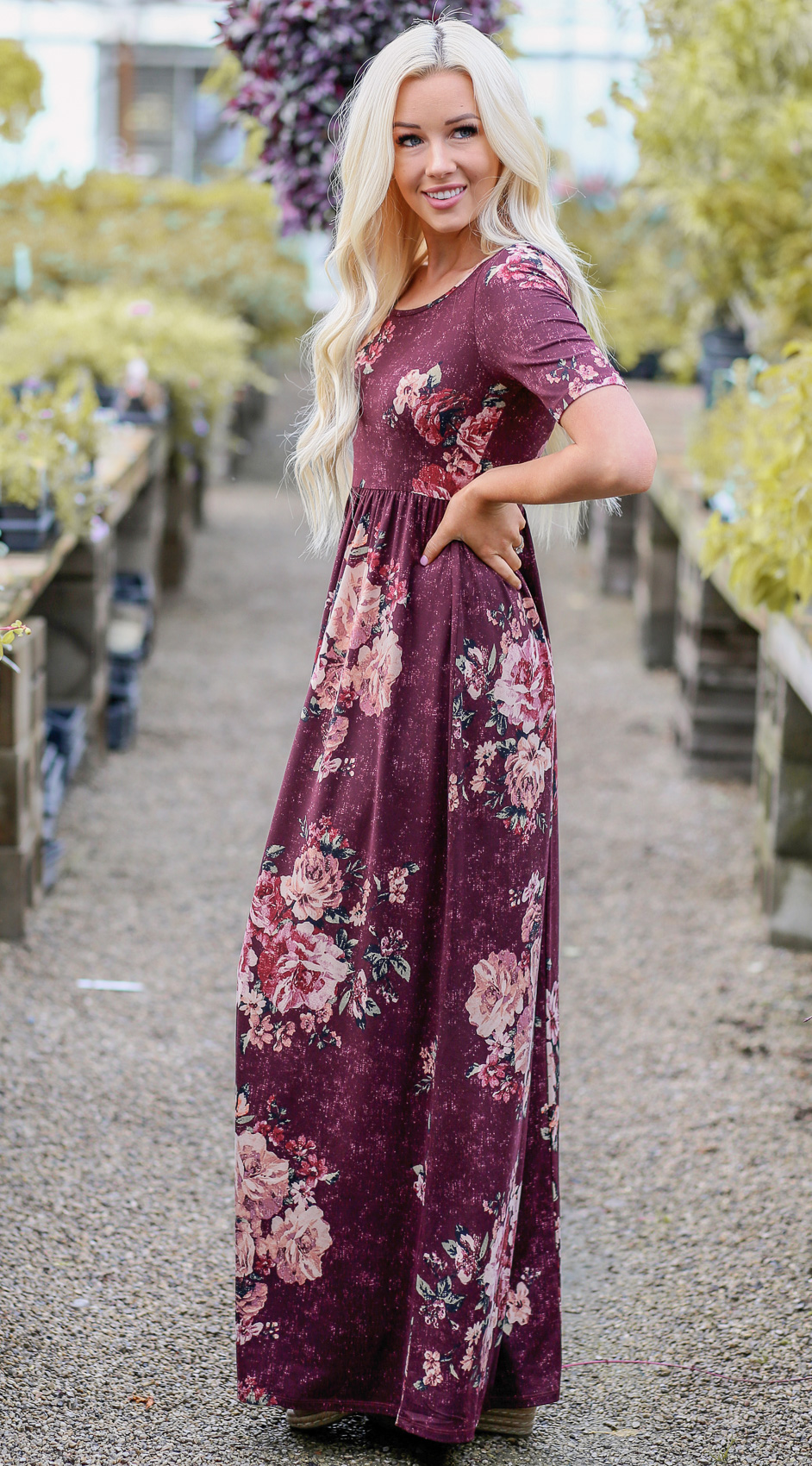 cf67e1000bba Miranda Modest Maxi Dress in Burgundy w Blush Pink Floral Print
