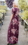Miranda Modest Maxi Dress in Burgundy w/Blush Floral Print