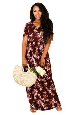 Miranda Modest Maxi Dress in Burgundy w/Floral Print