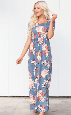 Miranda Modest Maxi Dress in Chambray w/Bright Coral Floral Print