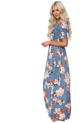 """Miranda"" Cute Modest Maxi Dress with Sleeves, Modest Church Dress, in Chambray w/Coral Floral Print"
