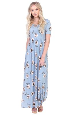 Miranda Modest Maxi Dress in Light Blue w/Poppy Print