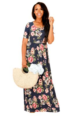 "Mikarose ""Miranda"" Cute Modest Maxi Dress with Sleeves, Modest Church Dress in Navy Blue w/Floral Print"
