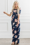 Miranda Modest Maxi Dress in Navy Blue w/Rose Floral Print
