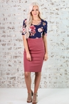 Modest Pencil Skirt in Mauve