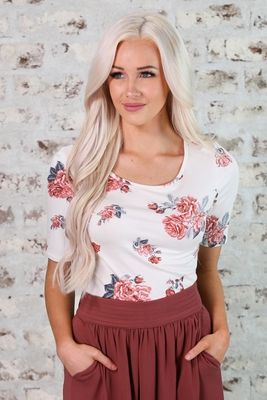 Modest Sister Missionary Top in Ivory & Mauve Floral Print