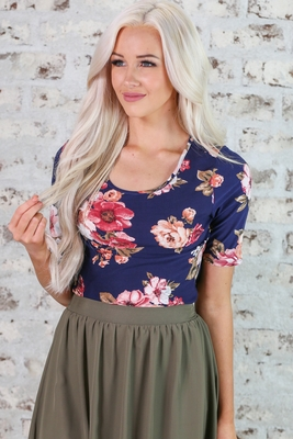 Modest Scoop Neck Top in Navy Blue w/Floral Print