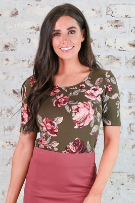 Modest Scoop Neck Top in Olive Green w/Floral Print