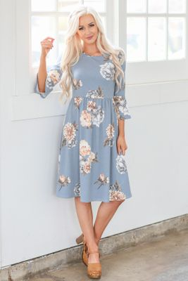 Naomi Bell Sleeve Modest Dress in Dusty Blue w/Floral Print
