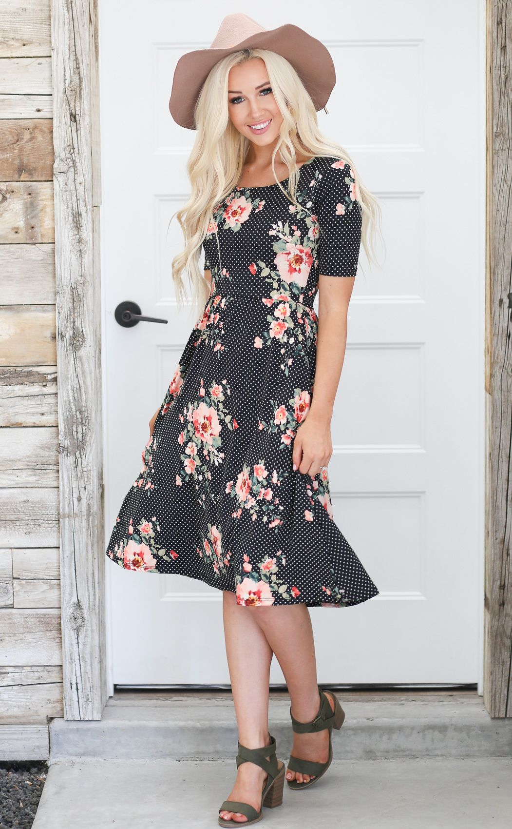 bd4d77217cb2 Natalie Modest Dress in Black w/White Polka Dots & Coral Floral Print