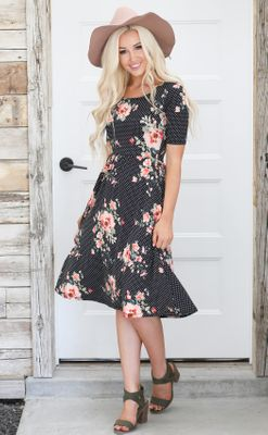 Natalie Modest Dress in Black w/White Polka Dots & Coral Floral Print
