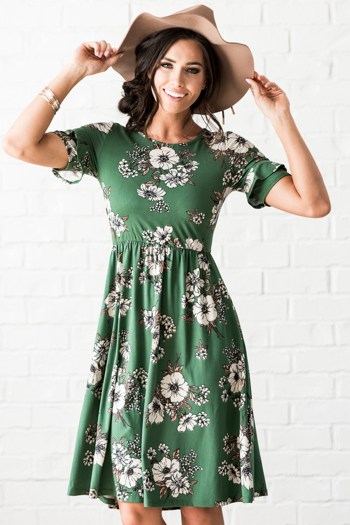 Nessa Modest Dress In Emerald Green W Fl Print