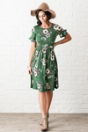 Nessa Modest Dress in Emerald Green w/Floral Print