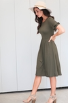 Nessa Modest Dress in Olive Green