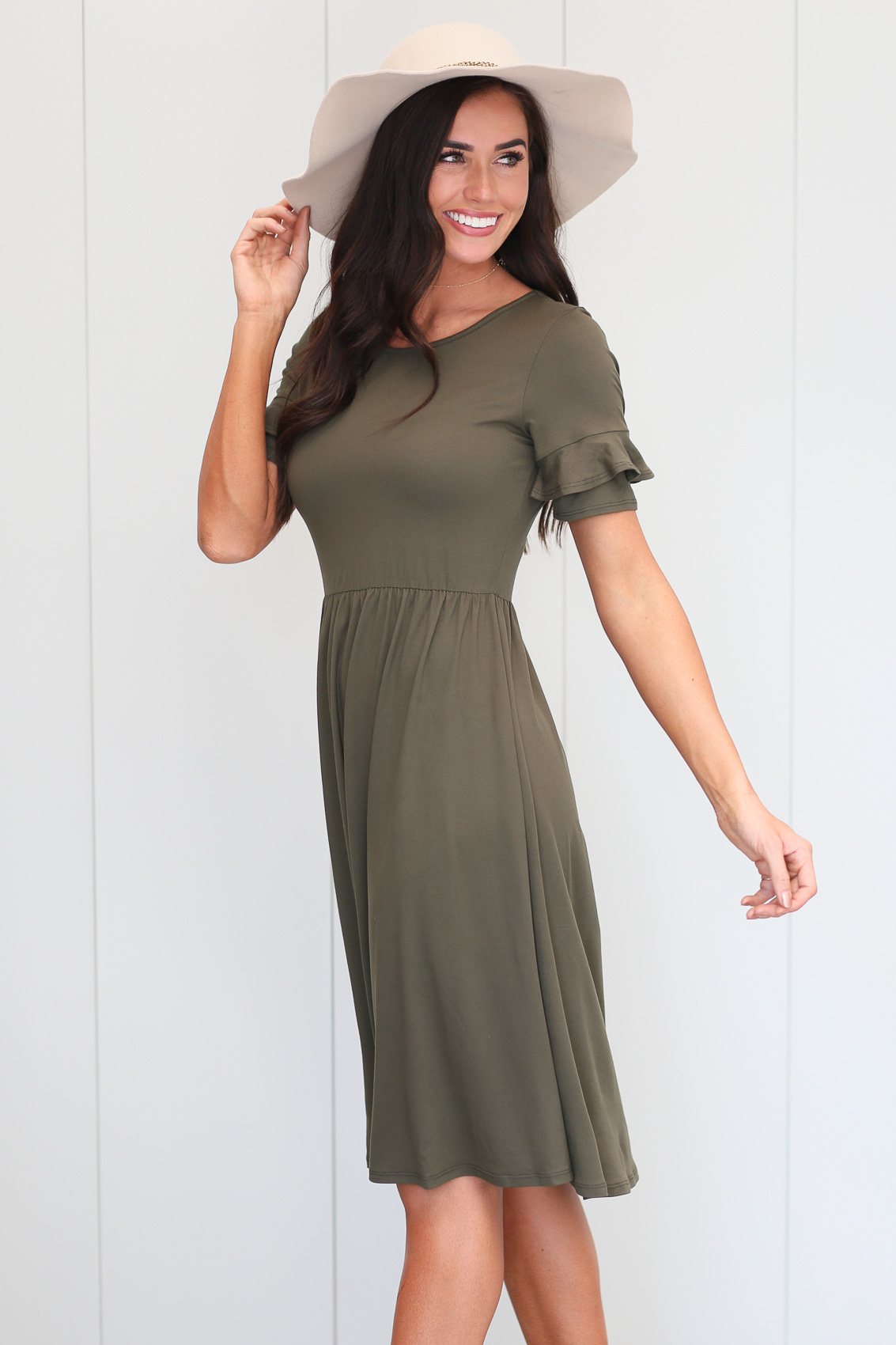 312a5ab38 Nessa Modest Dress or Modest Bridesmaid Dress in Olive Green