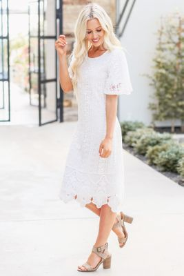 Nora Modest Boho Dress in White w/Lace Overlay