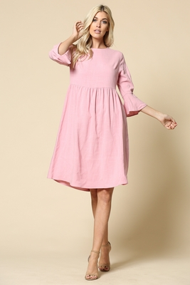 Nora Woven Modest Dress w/Bell Sleeves in Pink