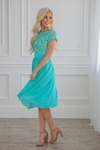 Olivia Modest Bridesmaid Dress in Turquoise, Tiffany Blue or Aqua