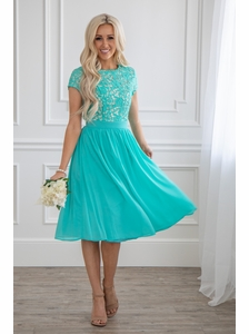 d5ab0f2896e Olivia Modest Bridesmaid Dress in Turquoise (aka Tiffany Blue or Aqua)