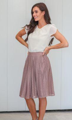 Pleated Lace Modest Skirt in Champagne