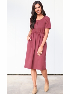 Raelyn Modest Dress In Dark Red W White Stripes Doubles As Nursing
