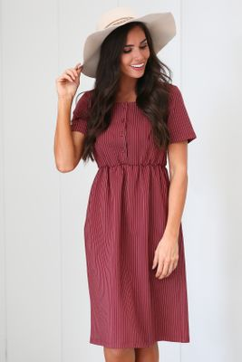 Raelyn Modest Dress in Dark Red w/Stripes, Modest Nursing Dress