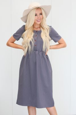 Raelyn Modest Dress in Denim Blue w/White Stripes, Modest Nursing Dress