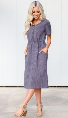 Raelyn Modest Dress in Denim Blue w/White Stripes -  doubles as Nursing Dress