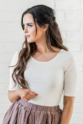 Round Neck Modest Top with Half Sleeves in Off-White