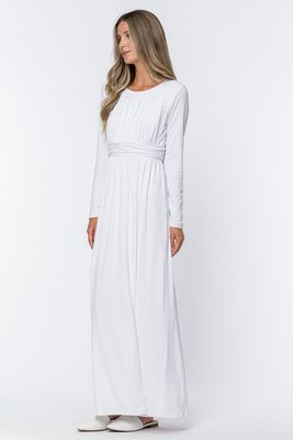 """""""Ruth"""" Ruched Waist LDS Temple Dress - White"""