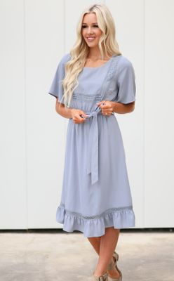 Skyler Modest Dress in Dusty Blue *Restocked*