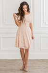 """Sloan"" Modest Bridesmaid Dress in Blush Pink Lace"