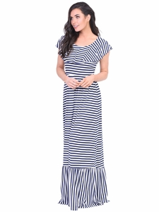 4b95e4ccb6a Stacy Modest Maxi Dress in Navy   White Stripes
