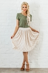 Textured Mesh Modest Skirt in Cream