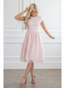 Thea Semi-Formal Lace Modest Homecoming Dress  1ee6319fc