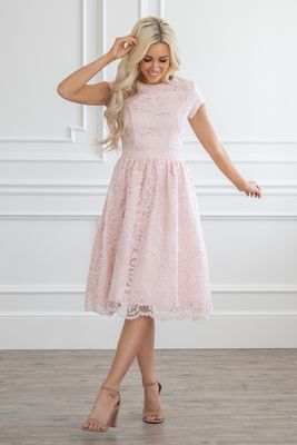 Thea Semi-Formal Lace Modest Homecoming Dress | Blush Pink | Bridesmaid Dress