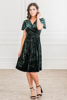Vera Modest Dress in Emerald Green Velvet