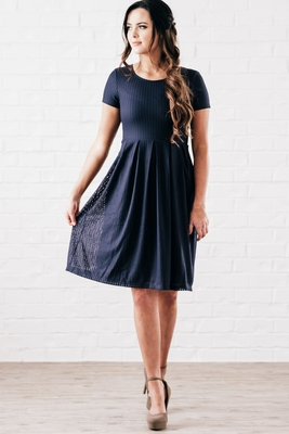 """Winslow"" Modest Dress in Navy Blue Mesh"
