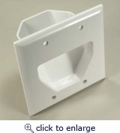 2-Gang Recessed Low Voltage Recessed  Cable Wall Plate
